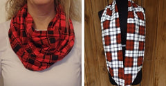 Classic Red Plaid Infinity Scarf-Circle, Loop, Eternity All Seasons Scarf