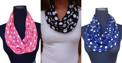 Bright Coral Polka Dot Infinity Scarf-Circle, Loop, Eternity All Seasons Scarf