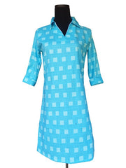Aqua Blue Squares Polo Dress