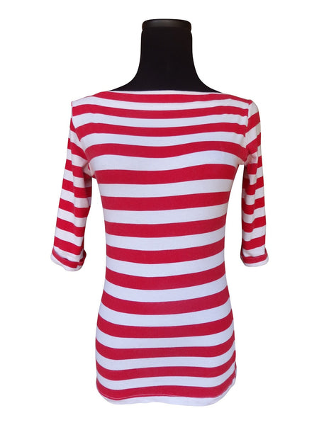 Classy Stripe Red-Boatneck Top