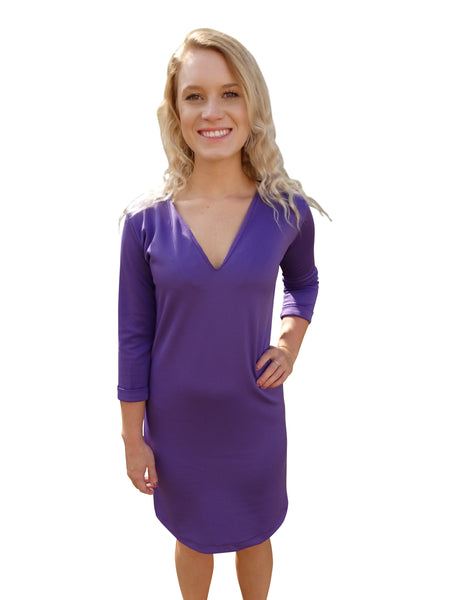 Beach Bridesmaid Purple Shift Dress