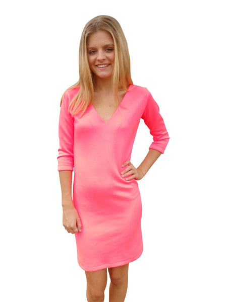 Beach Bridesmaid Hot Pink Shift Dress
