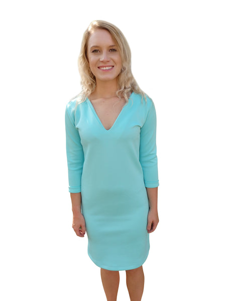 Beach Bridesmaid Aqua Blue Shift Dress