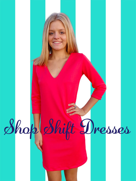 Bright Coral Chic Shift Dress