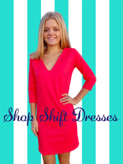 Bright Coral Shift Dress-Resort Couture