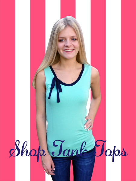 Aqua Chic Ribbon Tie Tank Top