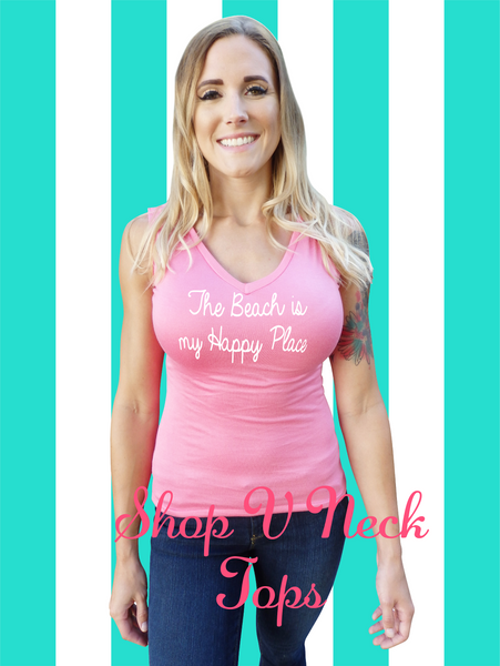 Paradise Pink-Beach Quote V Neck Top