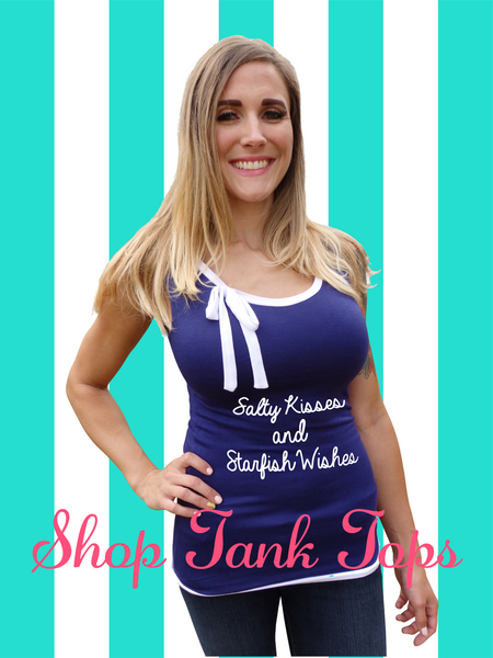 Nautical Navy Ribbon Tie Tank Top