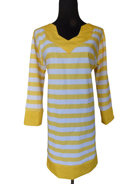 Sunny Yellow Stripe Tunic Dress with 3 Quarter Sleeves