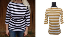 Design Your Own -Designer Womens Classic Stripe Boatneck Top-3 Color Choices