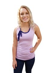Lilac Purple Ribbon Tie Tank Top