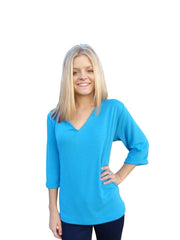 Turquoise V Neck Sweater Top with 3 Quarter Sleeves