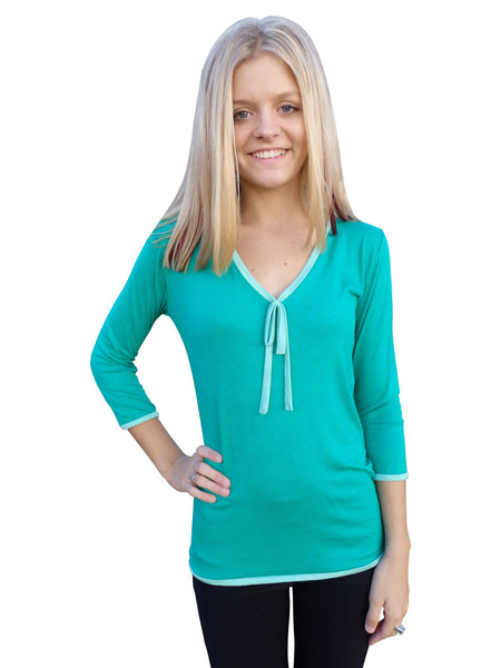 Kelly Green Ribbon Tie Designer Blouse