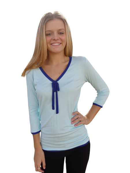 Light Blue Ribbon Tie Designer Blouse