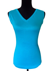 Caribbean Sea-Designer Sleeveless V Neck Top