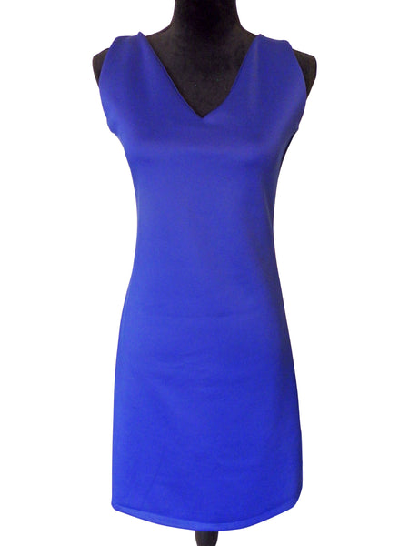 Royal Blue Sleeveless V Neck Dress