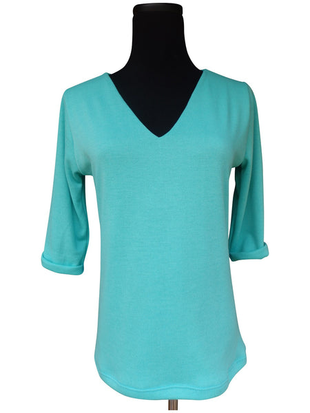 Aqua Blue V Neck Sweater Top with 3 Quarter Sleeves