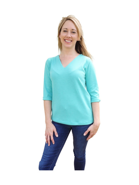 Aqua Blue V Neck Sweater Top with 3 Quarter Sleeves-Spring