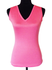 Paradise Pink-Designer Sleeveless V Neck Top