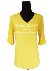 Sunshine Chic V Neck Sweater Top with 3 Quarter Sleeves