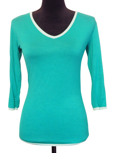 Kelly Green V Neck Blouse