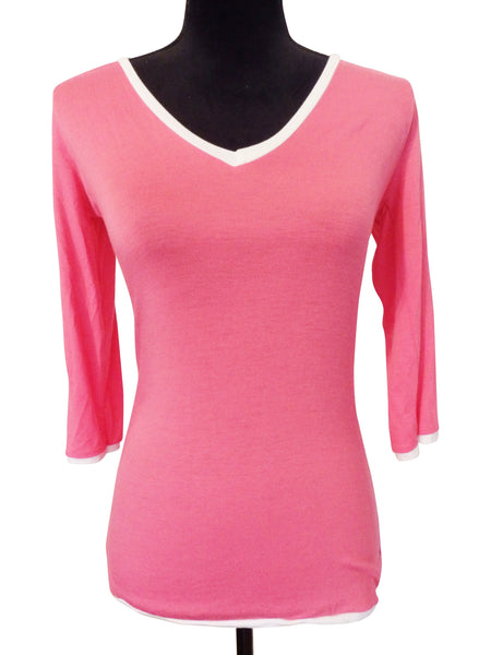 Hot Pink V Neck Blouse
