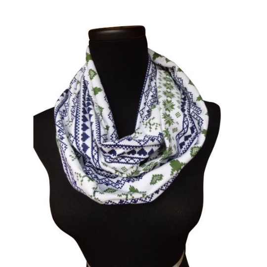The Woodlands Deer Navy & Green Infinity Scarf-Circle, Loop, Eternity All Seasons Scarf