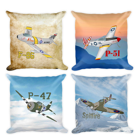 Warbirds War Planes Airplane Collection Double Sided Custom Throw Pillow (Set of 4)