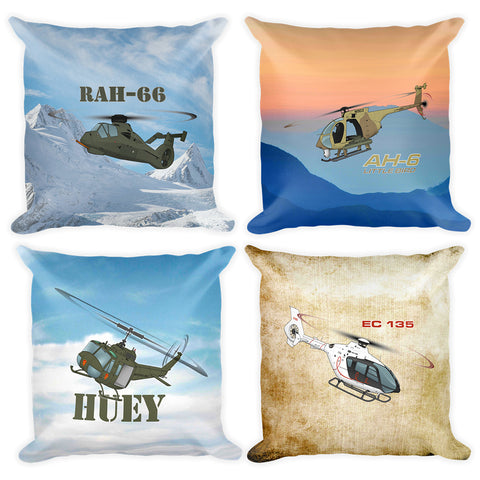Helicopter Designs Aircraft Collection Double Sided Custom Throw Pillow (Set of 4)