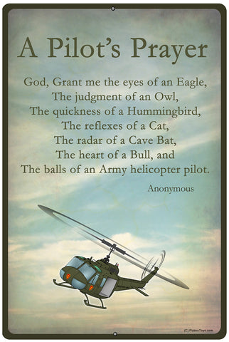 Pilot's Prayer Army Airplane HD Sign