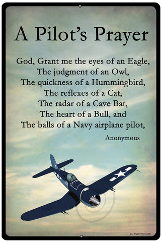 Pilot's Prayer Navy Airplane HD Sign