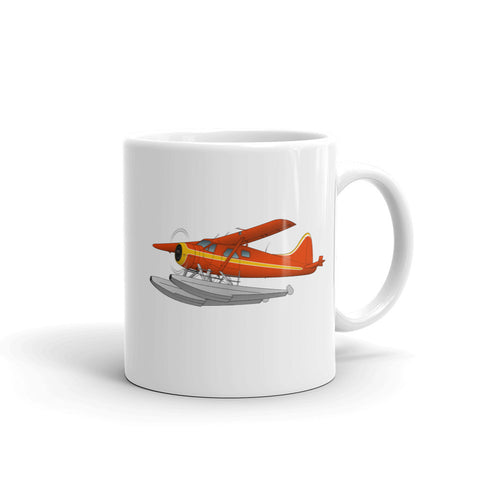 Airplane Design (Floats - Orange/Yellow) Mug - AIR458DHC2FL-OY1