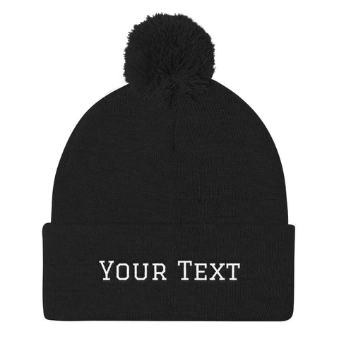 Custom Add Your Text Pom Pom Knit Cap