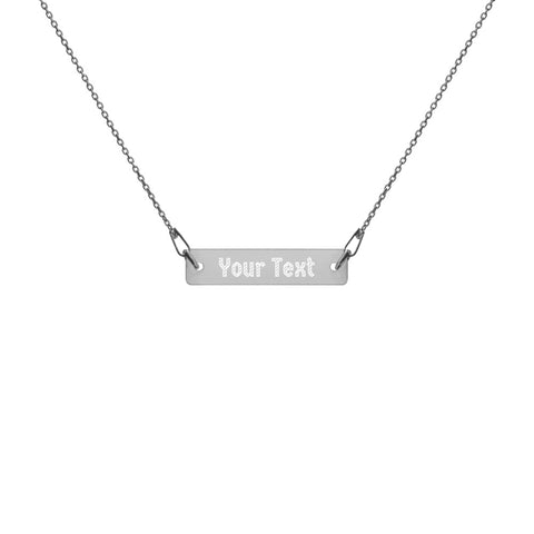 Custom Add Your Text  Engraved Silver Bar Chain Necklace