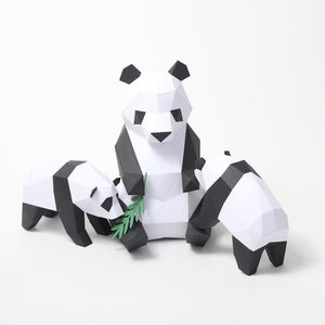 Bear Panda Family - Low Poly Crafts