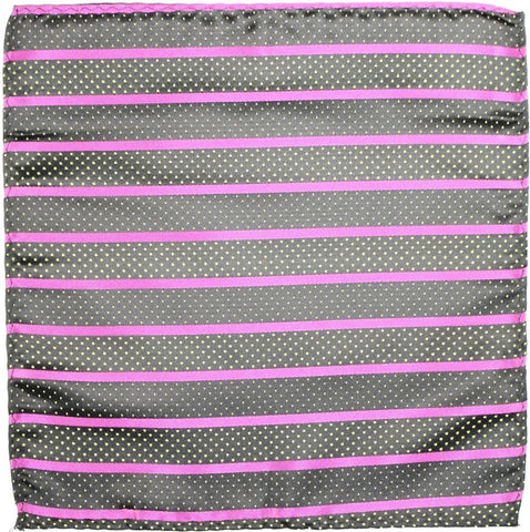 Black and Hot Pink Striped with Gold Pindots Silk Pocket Square - Knot Tied Down