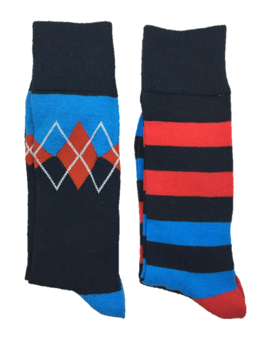 Men's Argyle and Thick Striped Socks by English Laundry - 2 Pairs - Knot Tied Down