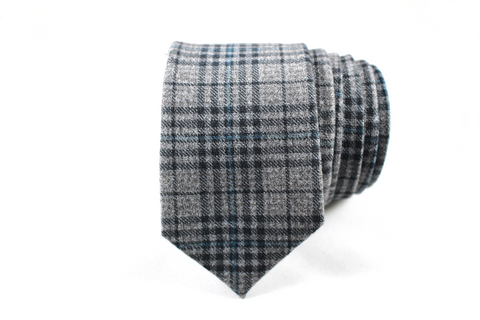 Gray and Blue Plaid Wool Skinny Tie - Knot Tied Down