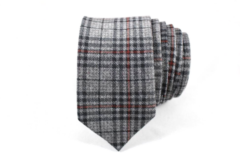 Gray and Red Plaid Wool Skinny Tie - Knot Tied Down