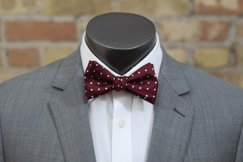 Maroon and White Polka Dot Silk Bow Tie - Knot Tied Down