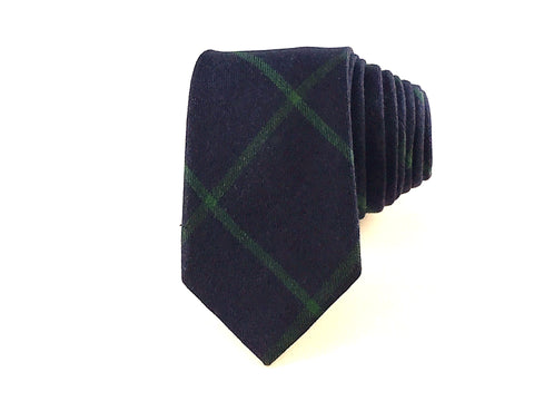 Midnight Blue and Green Diamond Cotton Tie - Knot Tied Down