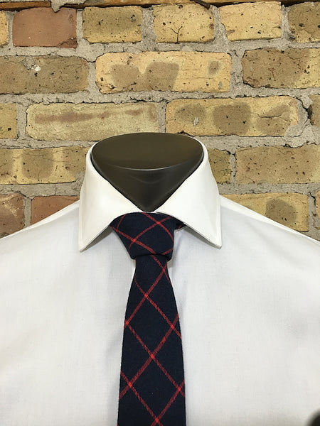 Midnight Blue and Red Tartan - Knot Tied Down