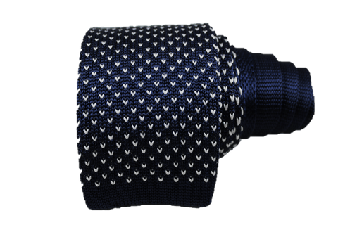 Chevron Silk Knit Tie - Navy & White