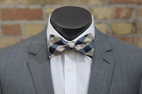 Old Gold and Black Tartan Silk Bow Tie - Knot Tied Down