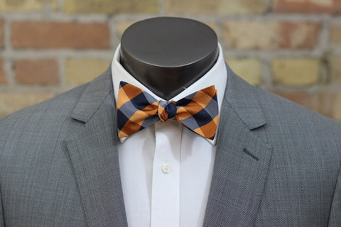 Orange and Navy Tartan Silk Bow Tie - Limited Edition - Knot Tied Down