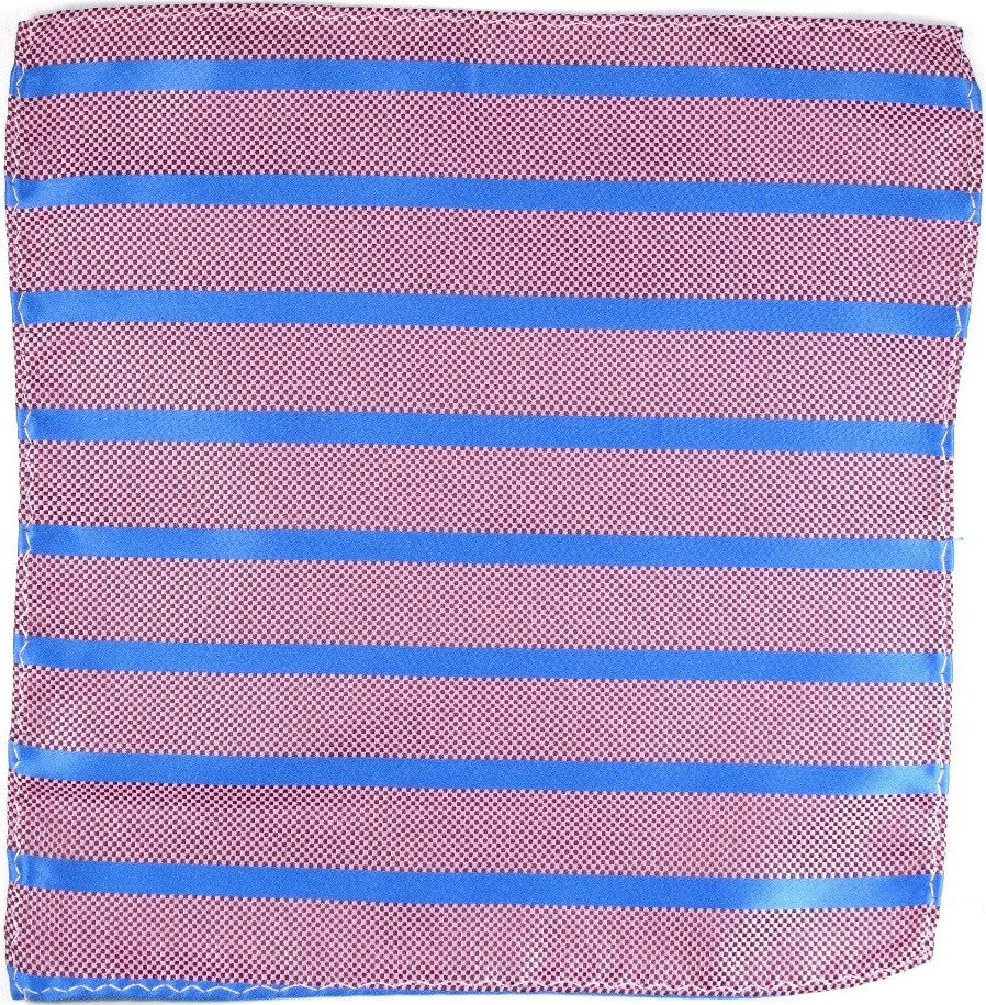Pink and Blue Striped Silk Pocket Square
