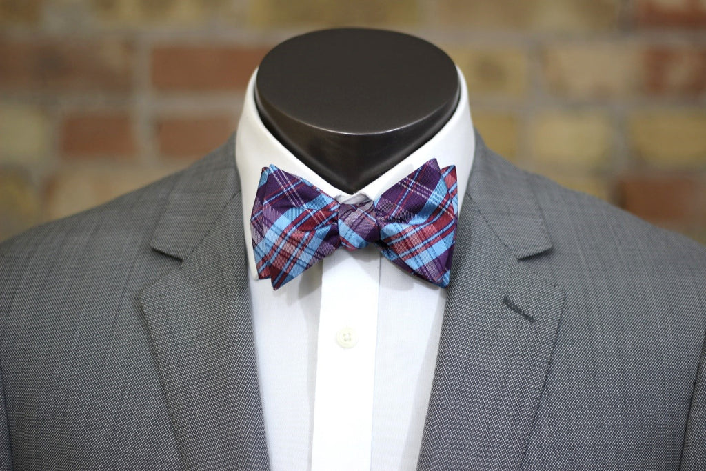 Plum and Blueberry Silk Bow Tie - Knot Tied Down