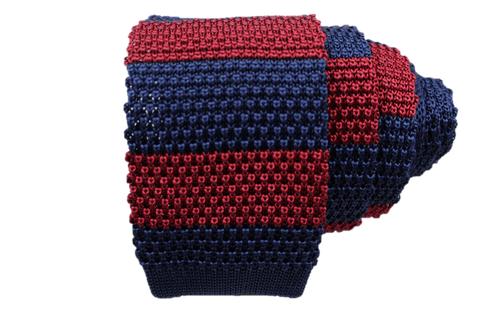 Large Stripe Silk Knit Tie - Navy & Red - Knot Tied Down