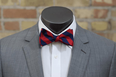 Red and Navy Striped Silk Bow Tie - Knot Tied Down