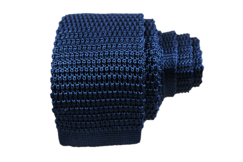 Solid Silk Knit Tie - Navy - Knot Tied Down